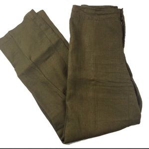 Eileen Fisher Olive Green Linen Trousers Small